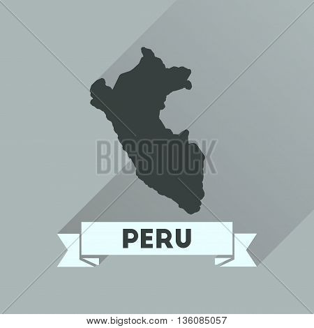 Flat icon with long  shadow Peru map