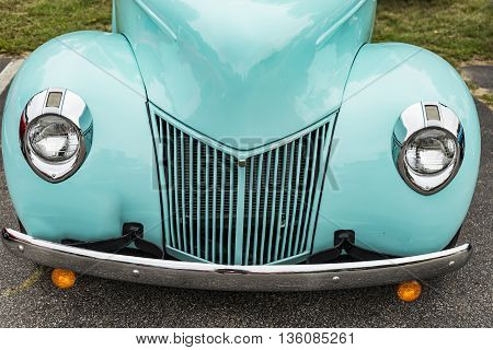 old american car in a annual exhibition in Old Orchard Beach ME, USA