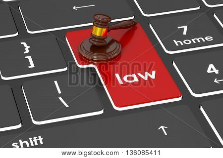 Law concept 3D rendering on the buttons of laptop