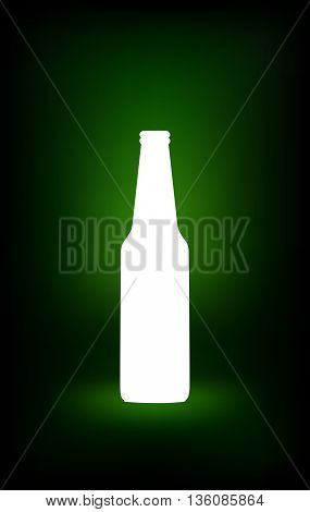 White beer bottle. Empty glass bottle silhouette with template design. Mock Up Ready For Your Design. Isolated On Green Background. Vector illustration.
