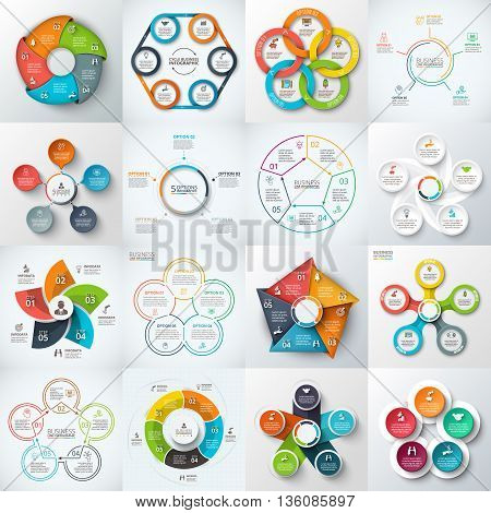 Big set of vector pentagons, circles and other elements for infographic. Template for cycle diagram, graph. Business concept with 5 options, parts, steps.