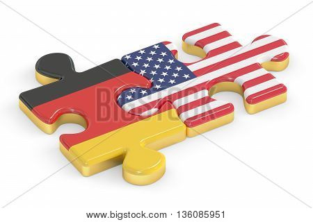 France and Germany puzzles from flags relation concept. 3D rendering