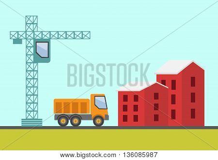 Construction site building a house vector flat illustration