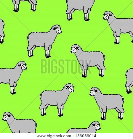 The seamless wallpaper with sheep and rams