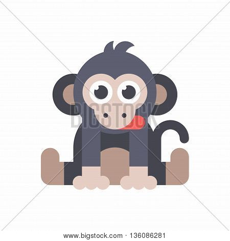 Baby monkey sitting on the floor and dticking out a tongue. Blue and red colors. Colored flat vector illustration isolated on white background.