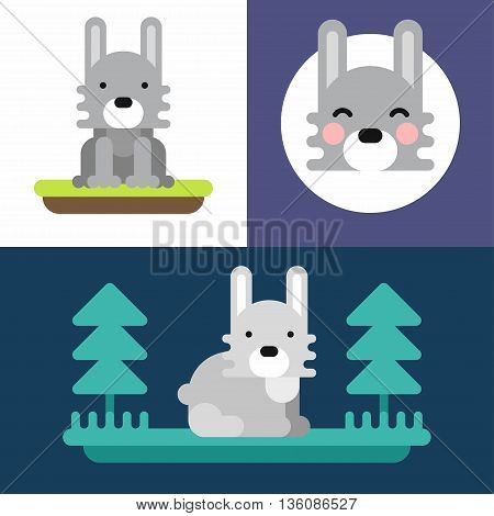 Animals. A set of three colorful bright illustrations of little hare. Colored flat vector illustration.