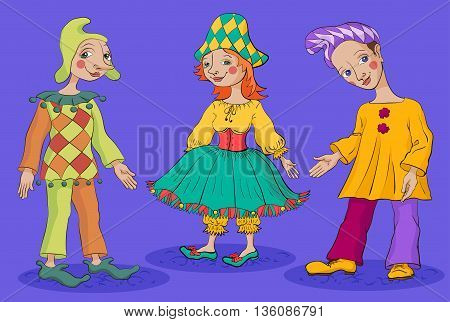 Harlequin Columbine and Pierrot are dressed in colorful costumes commedia dell'arte