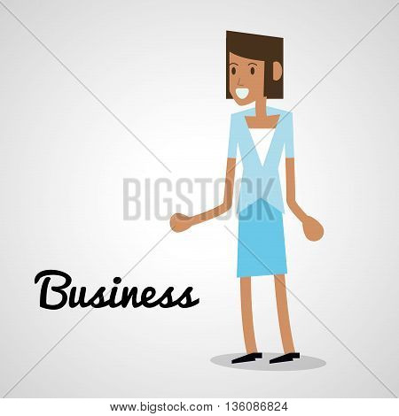 Business concept represented by woman icon. Isolated and flat illustration
