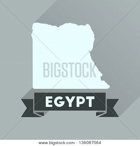 Flat icon with long  shadow map of Egypt
