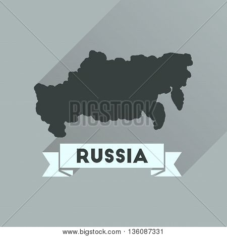 Flat icon with long  shadow map of Russia
