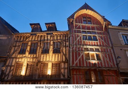 tenement houses in old town of Troyes at night France