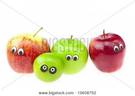 Joke Apple With Eyes Isolated On White