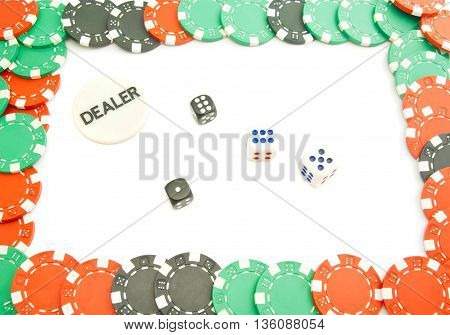 Dices And Colored Plastic Chips