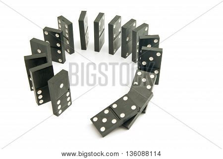 Black Dominoes Chips On White