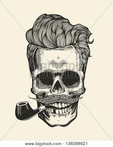Skull hipster with mustache, beard, tobacco pipes and sunglasses. Sticker that represents skull character. Vector illustration in vintage engraving style. Perfect for t-shirt print.