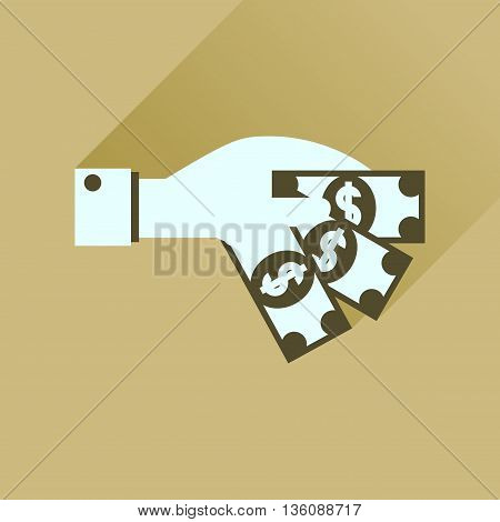Flat icon with long  shadow money in hand