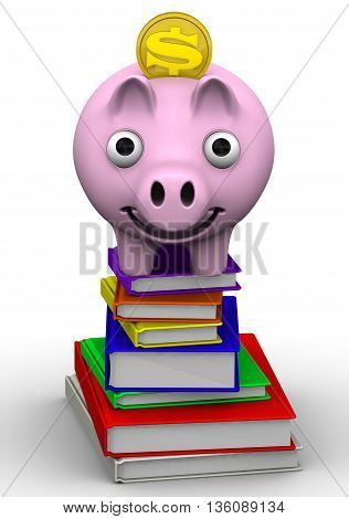 Discounts on the purchase of books. Pig piggy bank standing on a stack of books. The concept of saving on the purchase of books. Isolated. 3D Illustration