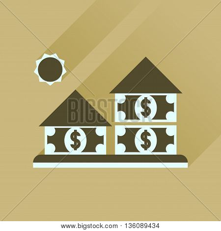 Flat icon with long  shadow money house