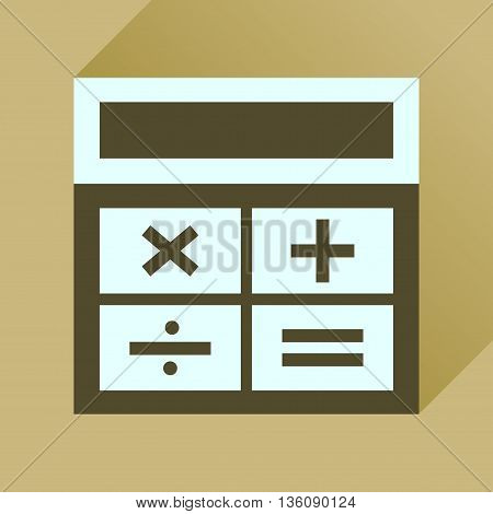 Flat icon with long  shadow calculator business