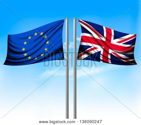 Two separate flags - EU and UK. Brexit concept. Vector.