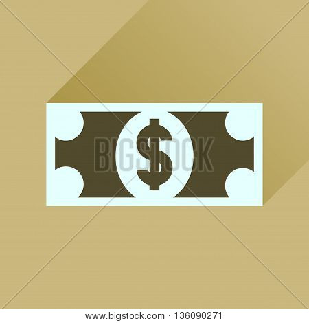Flat icon with long  shadow dollar banknote