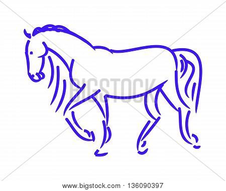 The symbolic figure of the horse. The image of a running horse from lines on a white background. Abstraction a simple sketch of the blue horse. Vector