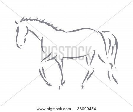 The image of a trained horse. Drawing with brush on white background.Symbol in the form of the horse vector