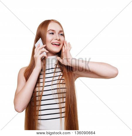 Portrait of happy smiling woman calling mobile and laughing. Young redhead girl talking on cell phone with her friend. Female portrait isolated at white, modern communication technology concept.