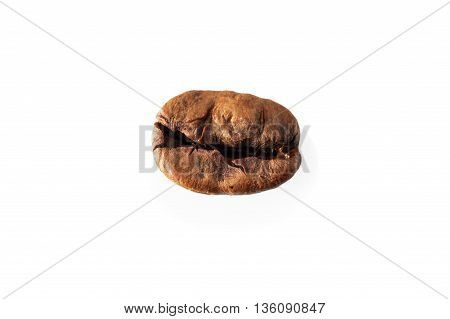 Roasted bean of coffee on white background isolated