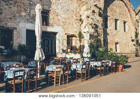 Empty greek cafe on Crete Island Greece