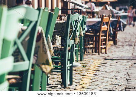 Empty Greek Cafe On Crete Island, Greece