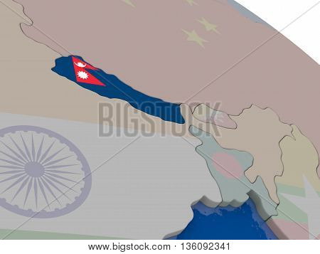 Nepal With Flag