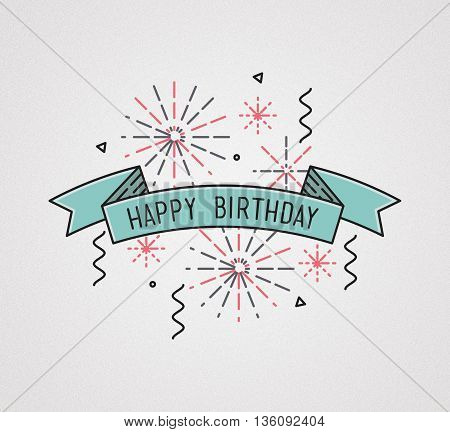 Happy Birthday, Flat Design Thin Line Banner