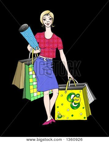 Stock Illustration Of Shopping Lady