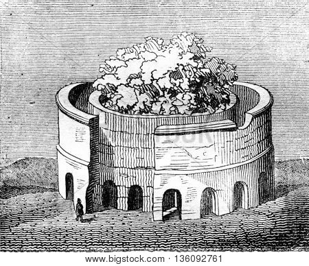The Lanleff Temple, Cote Nord, vintage engraved illustration. Magasin Pittoresque 1836.