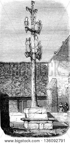 Cross and sculptures in granite, has Peneran, near Landerneau, vintage engraved illustration. Magasin Pittoresque 1836.