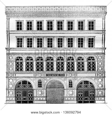 Facade of the entrance of the Saint Germain Railway on the Place de la Madeleine, vintage engraved illustration. Magasin Pittoresque 1836.