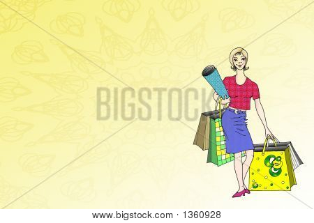 Stock Illustration Of Shopping Lady