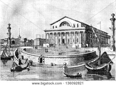 St. Petersburg Stock Exchange, vintage engraved illustration. Magasin Pittoresque 1836.