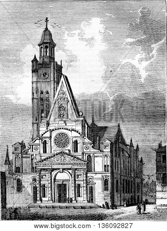 View of Saint Etienne du Mont, vintage engraved illustration. Magasin Pittoresque 1836.