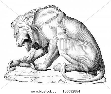 1836 Sculpture Show, A Lion and a Bronze Snake group, vintage engraved illustration. Magasin Pittoresque 1836.