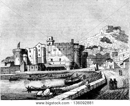 View of Chateau Neuf, in Naples, vintage engraved illustration. Magasin Pittoresque 1836.