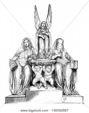 1836 Sculpture Show, A Holy water font, indicated to the church of the Madeleine, vintage engraved illustration. Magasin Pittoresque 1836.