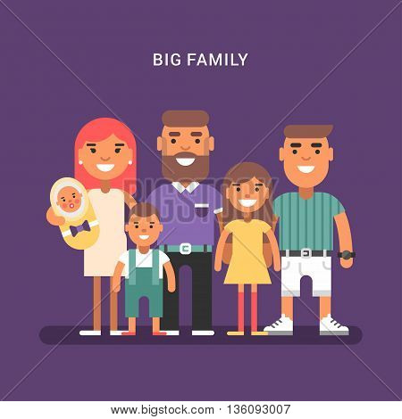 Big family of 6 members parents and four children of different age. Colred flat vector illustration on violet background