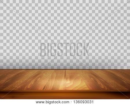 Background with wooden floor and a transparent back wall. Vector.