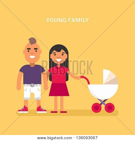 Young family with a babby carriage. Colored flat vector illustration on yellow background