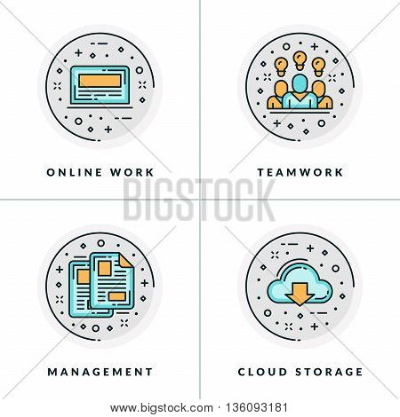 A set of four icons on business issues and processes such as online work teamwork management cloud storage. Colored in gray orange and blue flat vector illustrations.