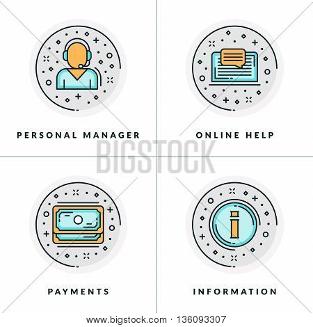 Personal manager online help payments information. A set of colored in gray orange and blue flat vector illustrations circle icons.