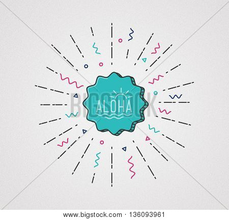 Aloha Flat Illustration. Hawaiian Tropical Exotic Graphics Banner