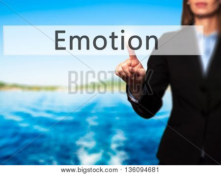 Emotion - Businesswoman Hand Pressing Button On Touch Screen Interface.
